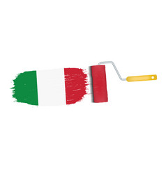 Brush stroke with italy national flag isolated on vector