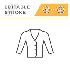 cardigan editable stroke line icon vector image