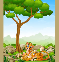 Cartoon adult cheetah with cub cheetah in the jung vector