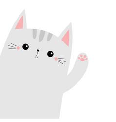 Cat animal kitten kitty waving hand cute cartoon vector