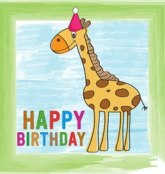 Childish birthday card with giraffe vector