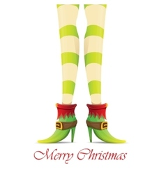 Christmas card with with elf girls legs vector