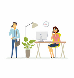 Colleagues work in the office - modern cartoon vector
