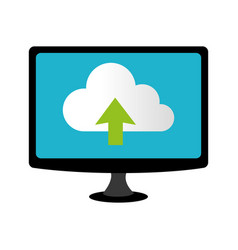 color lcd monitor with cloud upload service vector image