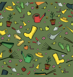 Colorful funny cartoon garden seamless pattern on vector