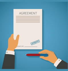 concept of business deal with agreement paper vector image