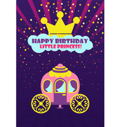 Crown and carriage happy birthday princess vector