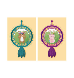 Cute animals cartoon on dream catcher vector