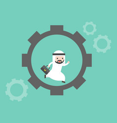 Cute arab businessman running in cogwheel vector