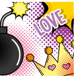 cute crown with bomb and star fashion patch vector image
