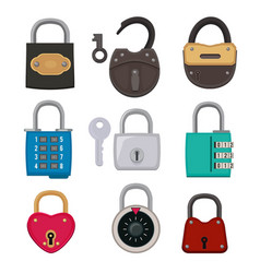 different types antique padlocks isolate on vector image