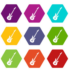 Electric guitar icon set color hexahedron vector