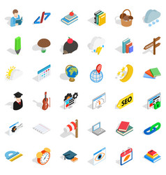 every day icons set isometric style vector image