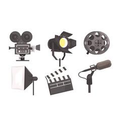film industry equipment set reel camera vector image