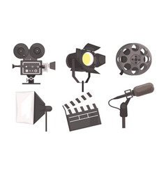 Film industry equpment set film reel camera vector