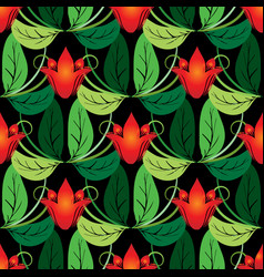 floral red tulips seamless pattern vector image