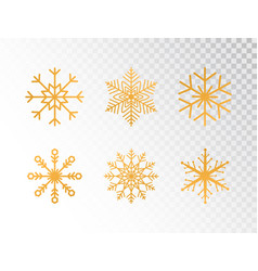 Golden snowflakes set on transparent background vector