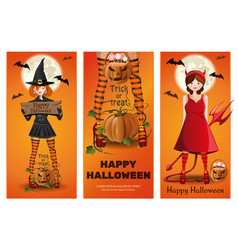 halloween banner set with girls in fancy dress vector image