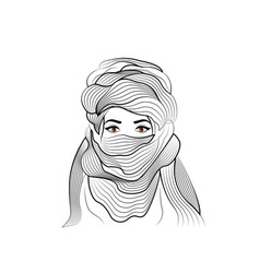 Hand drawing sketch portrait afro woman tuareg vector