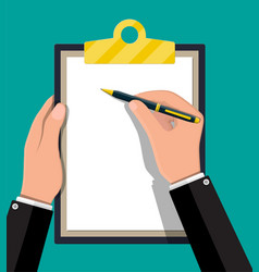 hands with pen holding clipboard with paper vector image