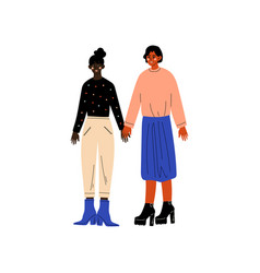 Happy lesbian couple two women holding hands vector