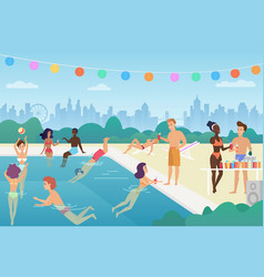 happy man and woman are swimming in the pool vector image