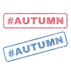 Hashtag autumn textile stamps vector