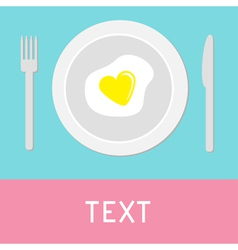 Heart-shaped fried egg card vector