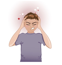 Ill boy complaints about headache vector