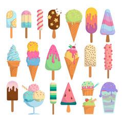 Isolated ice cream icons vector