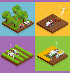 Isometric agriculture automatic guided robots vector