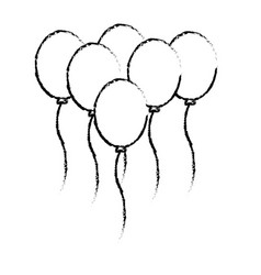 Line balloons party to happy birthday decoration vector