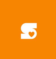 Love heart orange white alphabet letter s for vector