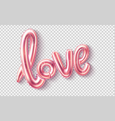 love realistic rubber balloon on pink vector image