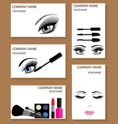 Make up business cards set vector