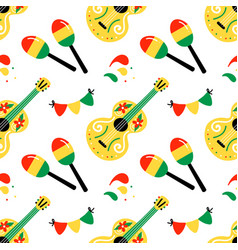 Maracas guitars mexican cinco de mayo pattern vector