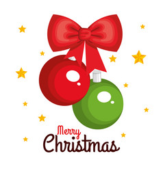 merry christmas hanging balls red and green bow vector image