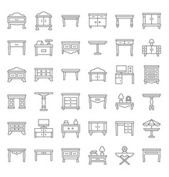 modern and vintage table and desk outline icon set vector image