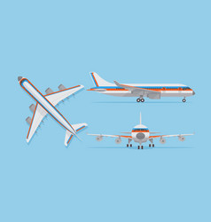 Modern passenger airplane airliner in top side vector