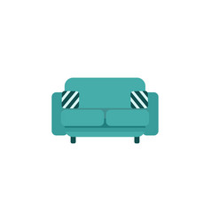modern teal green couch with striped cushion vector image