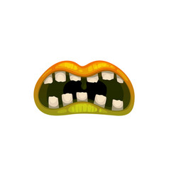 Monster mouth creepy zombie or alien jaws vector