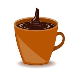 mug of hot chocolate drink isolated on white vector image