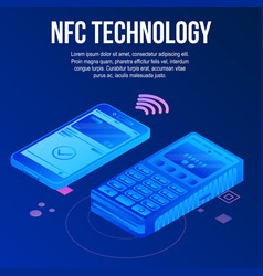 Nfc tehcnology concept background isometric style vector