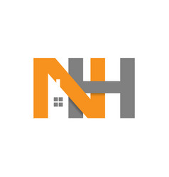 Nh initial letter realty logo design vector