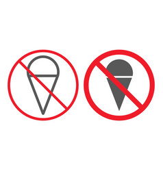 no ice cream line and glyph icon prohibition vector image