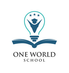 one word school logo vector image
