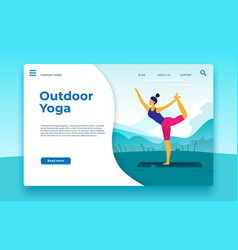 outdoor yoga classes landing page outdoor banner vector image