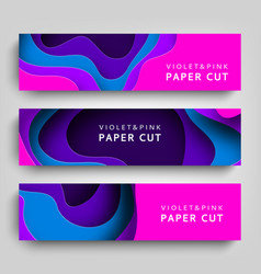 Paper cut set horizontal banners background vector