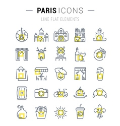 Paris Line Icons 7 vector image