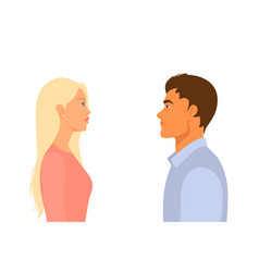 People man and woman look at each other in the vector